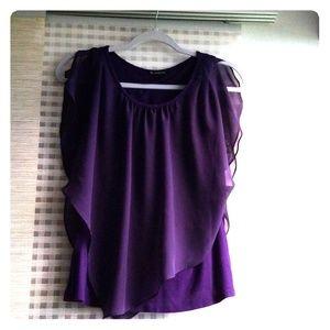 Purple ruffled short sleeve blouse